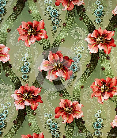 Free Original Textile Fabric Ornament Of The Lily. Crock Is Hand-painted With Gouache. Royalty Free Stock Images - 102965209