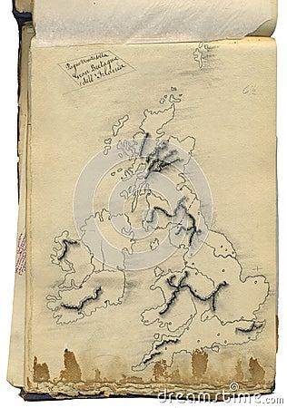 Original vintage map of Great Britain