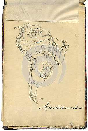 Original vintage map of South America