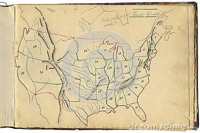 Original vintage map of USA