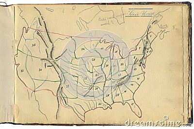 Original vintage map of USA