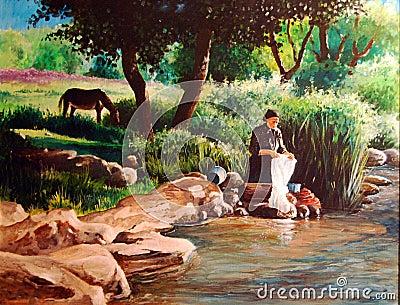 Original Washerwoman painting