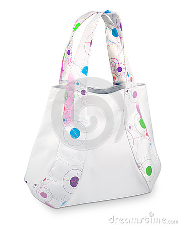 Original white handbag with color applications
