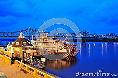 Orilla del río de Peoria - barco de vapor