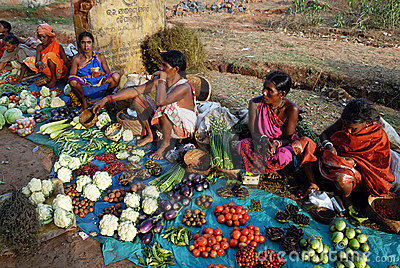 Orissa s tribal people at weekly market Editorial Stock Photo