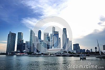 Orizzonte del distretto aziendale di Singapore Fotografia Editoriale