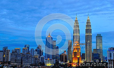 Orizzonte di Kuala Lumpur, Malesia Fotografia Editoriale
