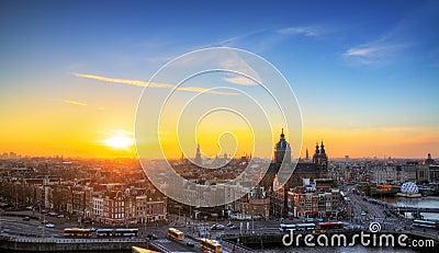 Orizzonte di tramonto di Amsterdam
