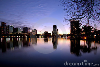Orlando skyline at twilight