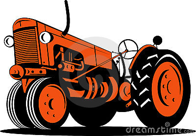 Ornage vintage tractor