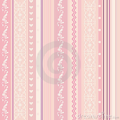 Ornamenral pink striped wallpaper
