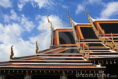 Ornament: detailed temple roof against blue sky