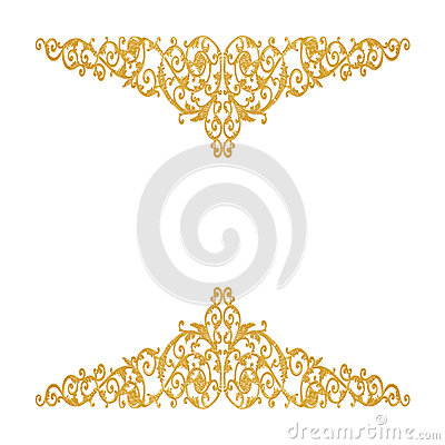 Free Ornament Elements, Vintage Gold Floral Designs Stock Image - 61845461