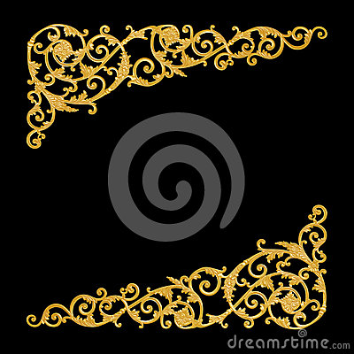 Free Ornament Elements, Vintage Gold Floral Designs Royalty Free Stock Images - 61845519