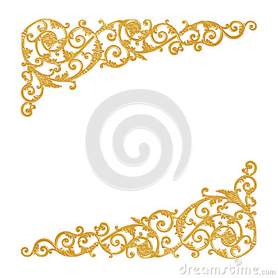 Free Ornament Elements, Vintage Gold Floral Designs Royalty Free Stock Images - 61845549