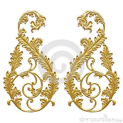Free Ornament Elements, Vintage Gold Floral Designs Stock Photo - 62922320