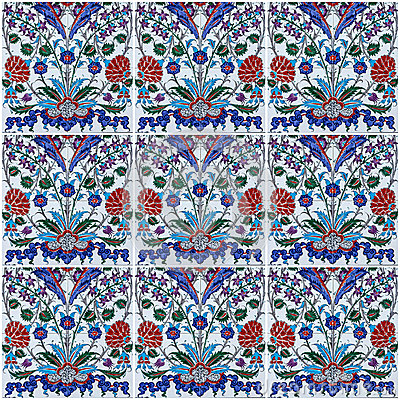 Free Ornamental Background Of Turkish Ceramic Tile Collage. Royalty Free Stock Photos - 85502878