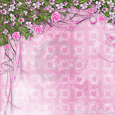 Ornamental background with sakura and roses