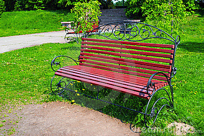 Ornamental bench in park