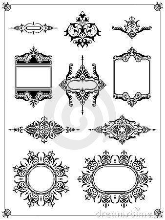 Ornamental border frame design element collection
