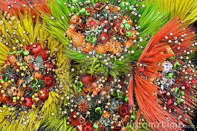 Ornamental Bunch of dried wild flowers and cereals