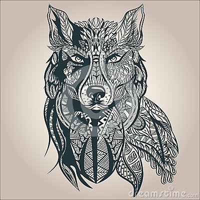 Ornamental decorative wolf, predator, pattern Vector Illustration