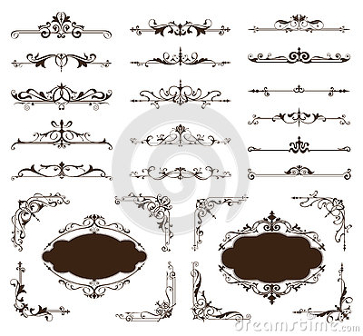 Free Ornamental Design Borders And Corners Vector Set Of Vintage Ornaments Stock Images - 74796964