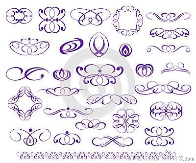 Ornamental design elements, series.Purple Vector Illustration
