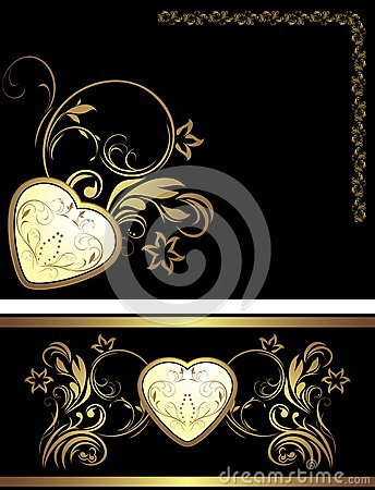 Ornamental elements with heart for decor