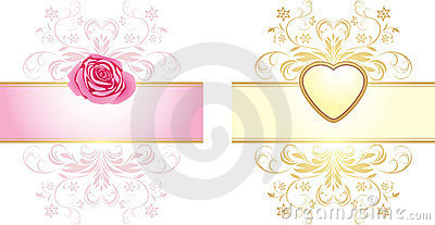 Ornamental elements with heart and rose for decor