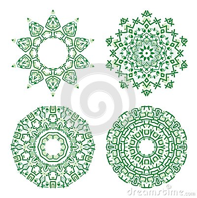 Ornamental ethnicity green pattern