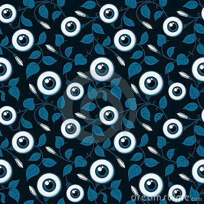 Ornamental floral background with eyeballs