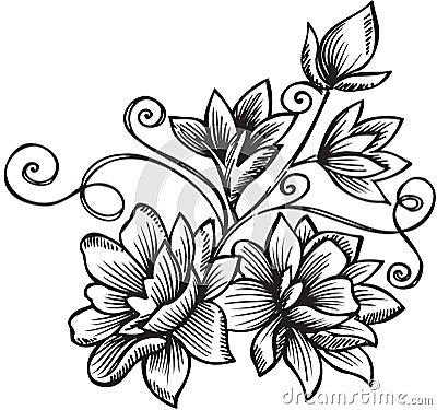 Ornamental Flower Bouquet Vector Illustration