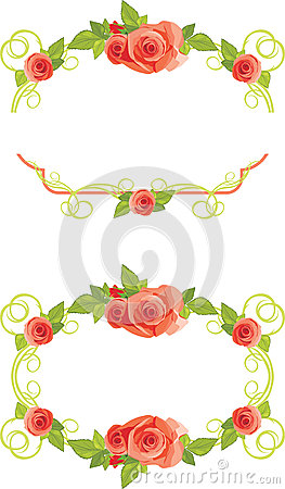 Ornamental frames with blooming roses