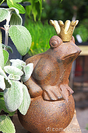 Ornamental frog with crown