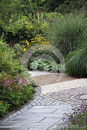Ornamental garden path with perennial plants
