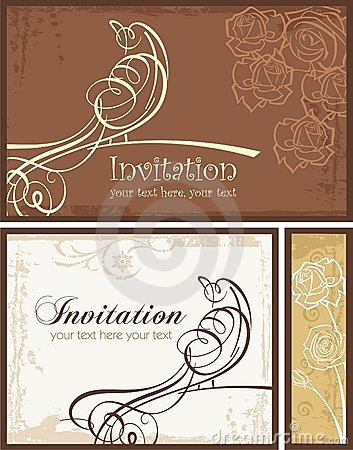 Ornamental Invitation Designs Set with Bird