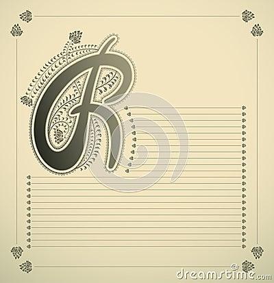 Ornamental letter - R