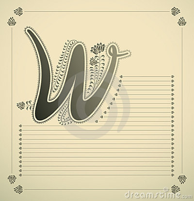 Ornamental letter - W