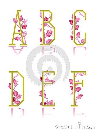 Ornamental letters A, B, C, D, E, F