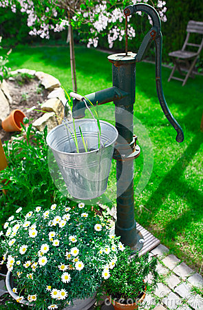 Ornamental old cast iron water pump