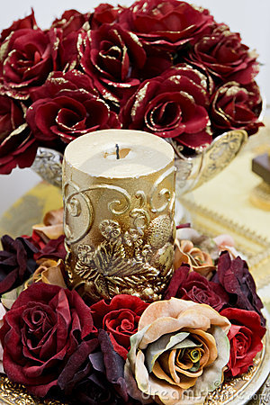 Ornamental rose candle