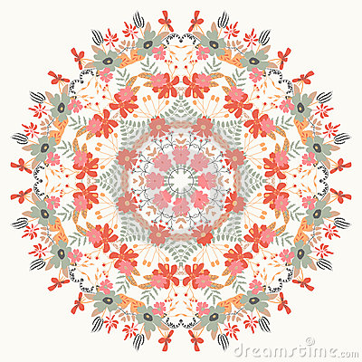 Ornamental round floral pattern