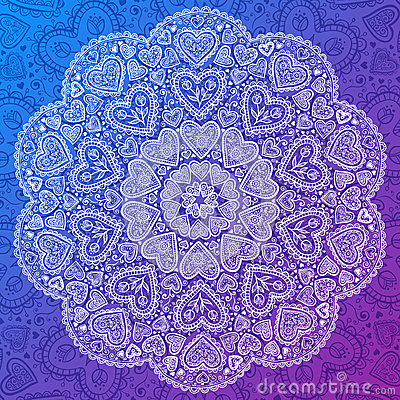 Free Ornamental Round Hearts Pattern In Indian Style Royalty Free Stock Images - 28194869