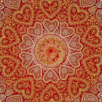 Free Ornamental Round Hearts Pattern In Indian Style Stock Photos - 28194913