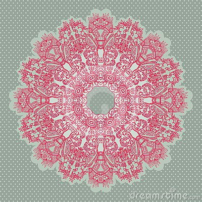 Ornamental round seamless lace pattern