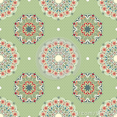 Ornamental round seamless pattern