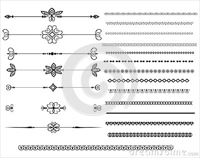 Ornamental rule lines in different design Vector Illustration