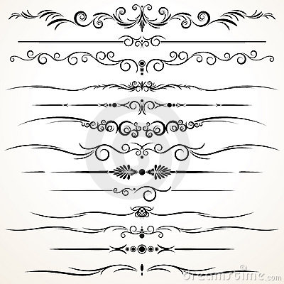 Free Ornamental Rule Lines In Different Design Stock Photos - 21321023