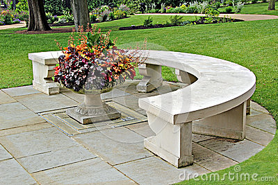 Ornamental stone bench